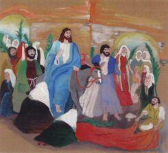 Příjez Ježíše Krista do Jeruzaléma. Malovaly Johanka a Eliška Panenkovi z Roztok (12 a 14 let)